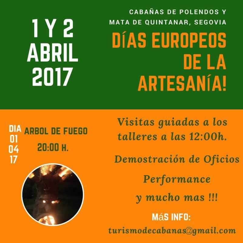 días europeos de la artesania. 1 y 2 de abril. mata de quintanar. segovia.cabañas de polendos.