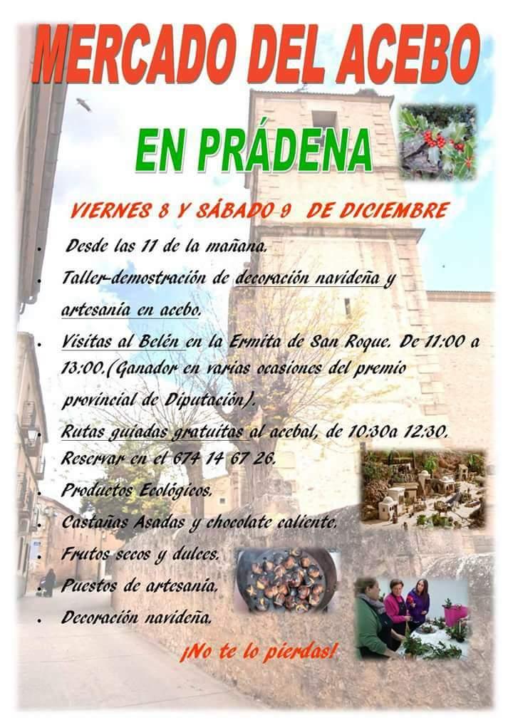 Prádena. Mercado del Acebo. Rutas guiadas y gratuitas por el acebal de Prádena.