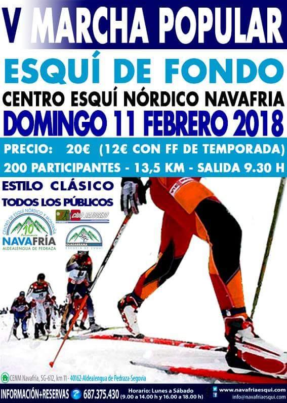 Esquí de fondo. Centro esquí nórdico de Navafría. Segovia. V Marcha esquí de fondo 2018