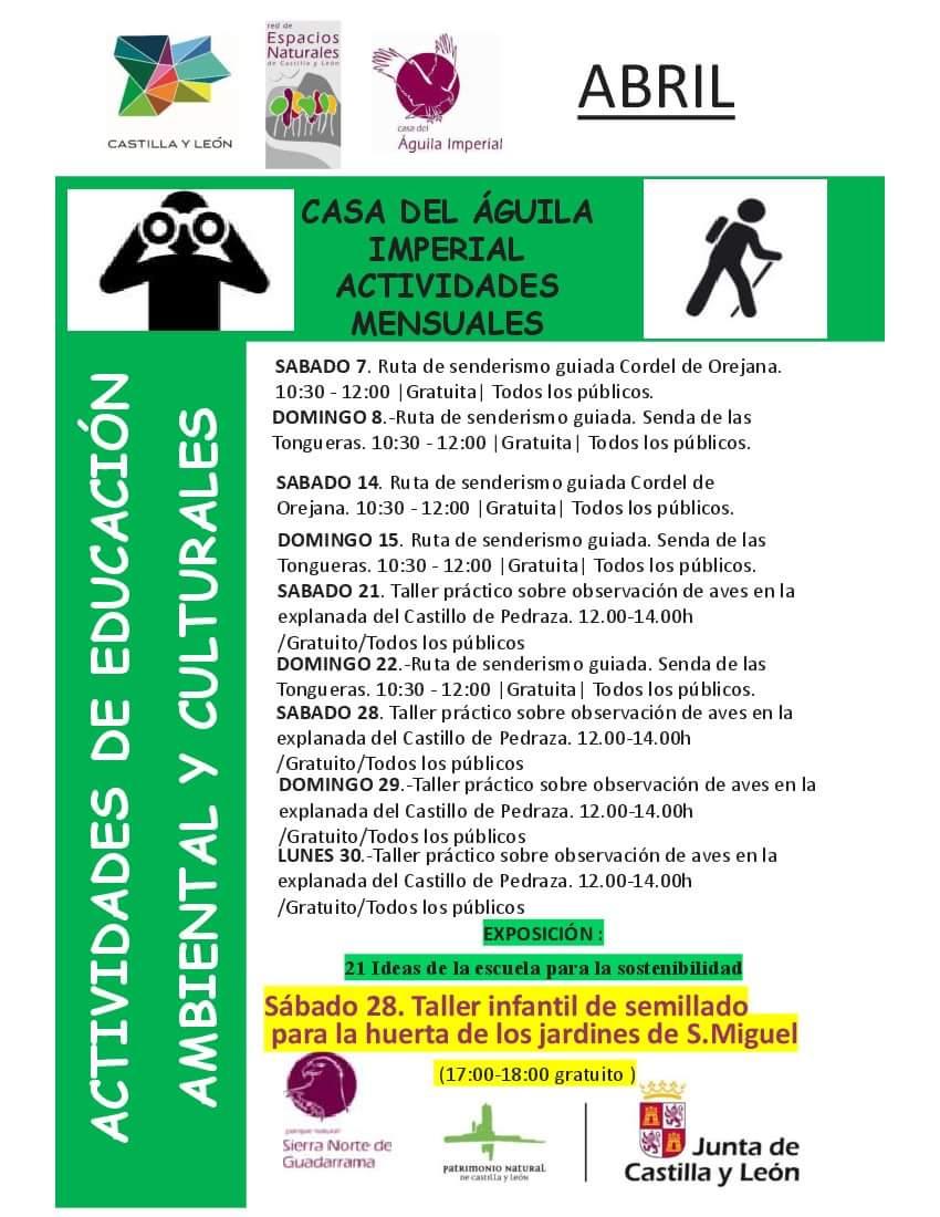 actividades de educación ambiental y culturales. Casa del águila imperial. Abril 2018
