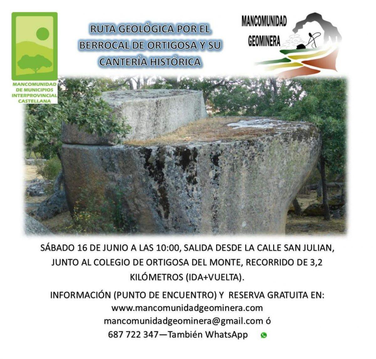 Ruta geológica el Berrocal de Ortigosa y su cantera histórica.