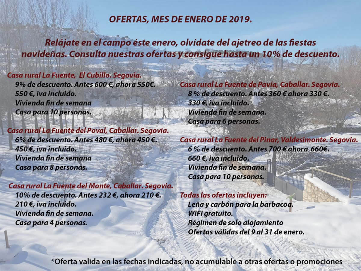 Ofertas Enero 2019. Casas rurales. Segovia.