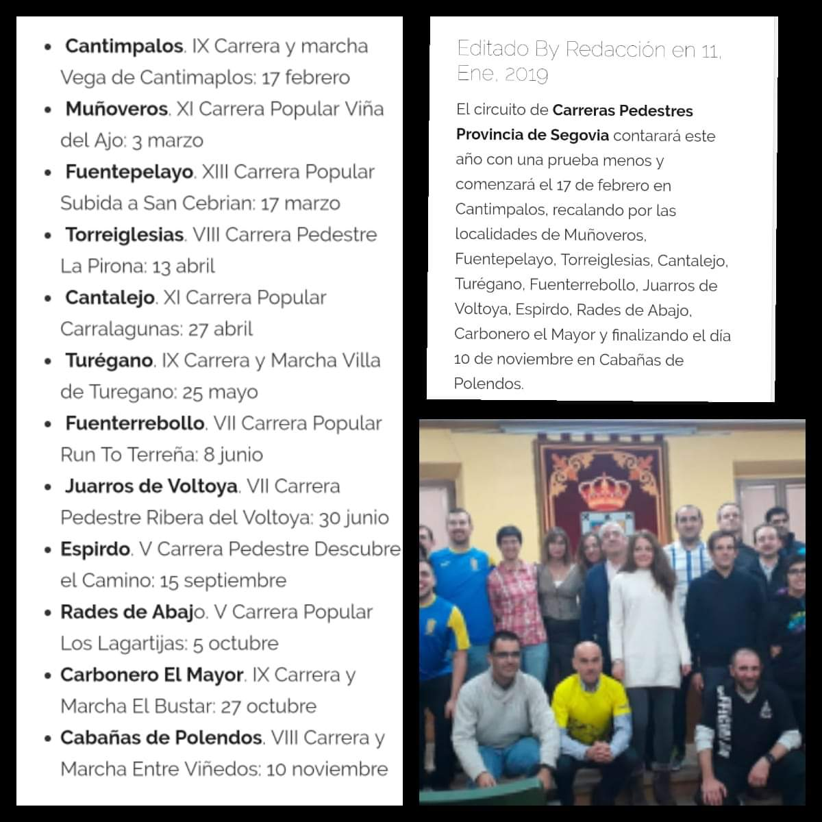Circuito de carreras pedestres. Segovia 2019.