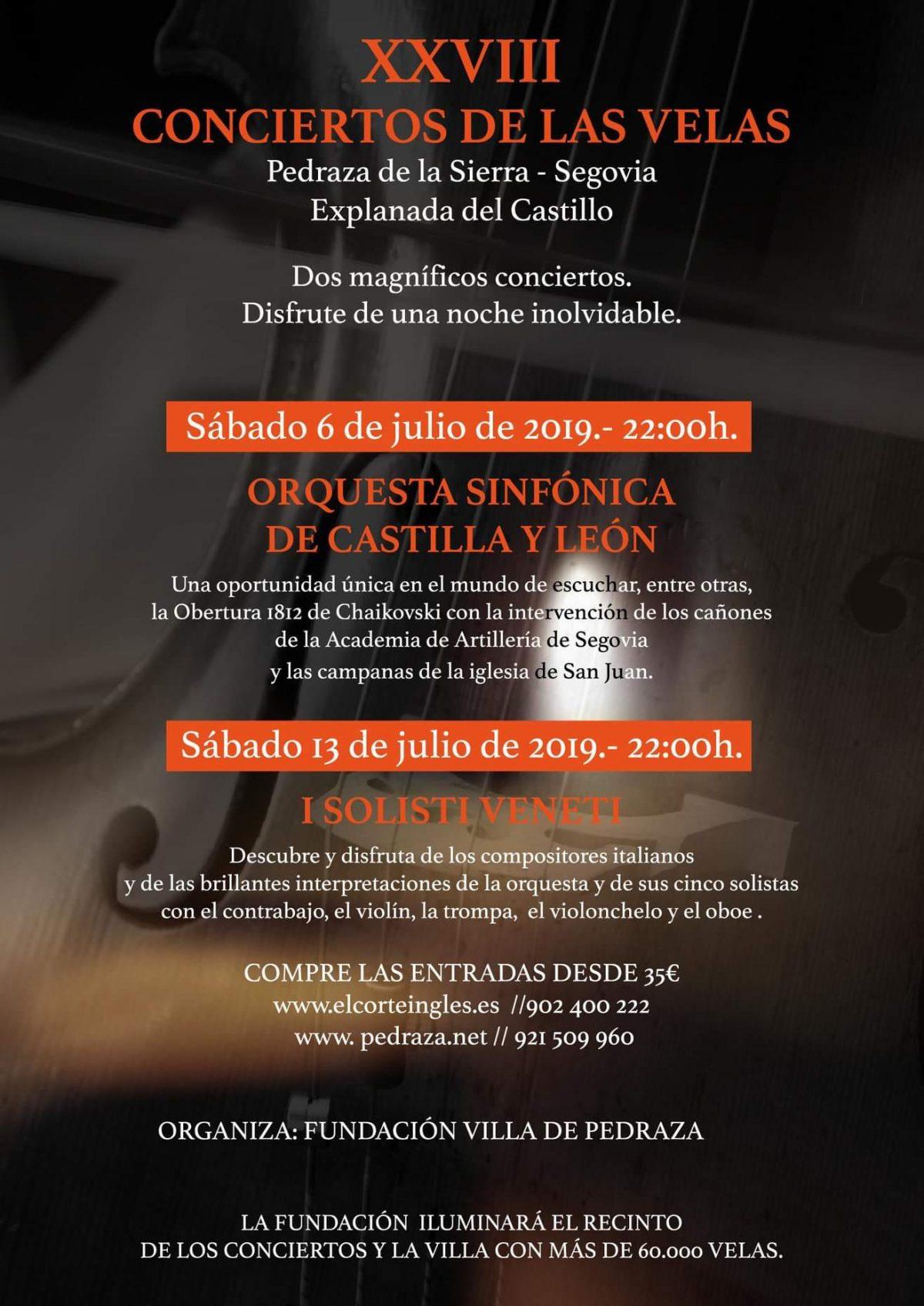 Conciertos de las velas de Pedraza 2019. Programa