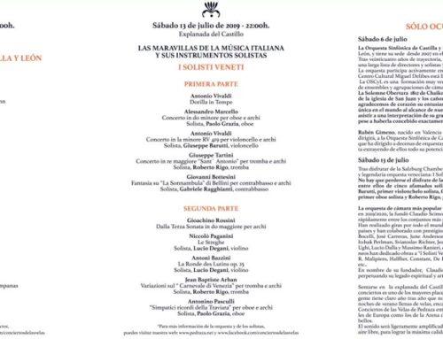 Programa de los conciertos de las velas de Pedraza 2019.