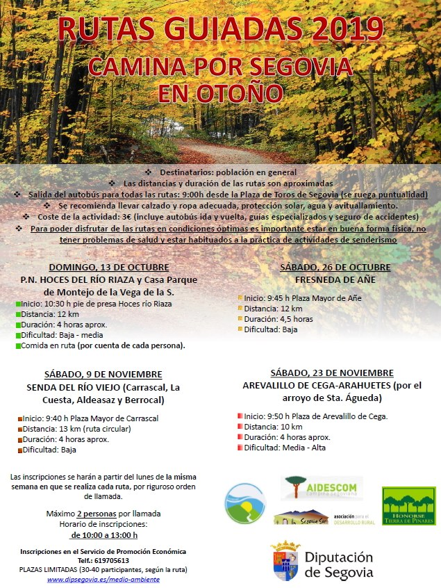 Rutas guiadas en Segovia. Otoño 2019